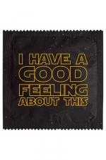 Préservatif Good Feeling - Préservatif  Good Feeling  pour allier humour et fan attitude ! Cette capote en latex de caoutchouc naturel est fabriquée en France par la société Callvin. Elle mesure 5,3 cm de large.