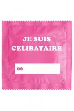 Capote Humoristique Je Suis Célibataire Rose - Préservatif  Je Suis Célibataire Rose , de 5,3 cm de large, conforme aux normes françaises et européennes. Une capote humoristique made in France de haute qualité.