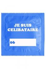 Capote Fun Je Suis Célibataire Bleu - Capote Fun   Je Suis Célibataire Bleu , un préservatif humoristique haute qualité, made in France, marque Callvin d'une largeur de 5,3 cm (+- 0,2 cm). Répond à toutes les normes françaises ISO 4074 et CE.