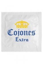 Préservatif Français Cojones Extra - Préservatif  Cojones Extra , un préservatif personnalisé humoristique de qualité, fabriqué en France, marque Callvin. Largeur 5,3 cm avec réservoir, lubrifié et fabriqué dans un latex de caoutchouc naturel. Respecte norme ISO 4074.
