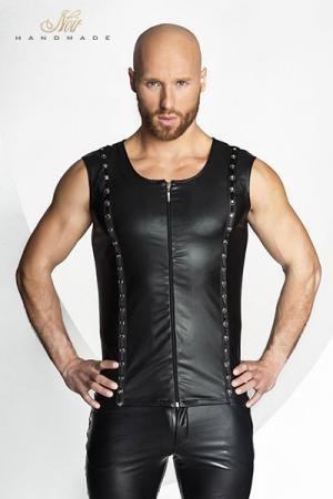 Veste STRONGER Hard - Veste sans manches en wetlook mat ferm�e par un zip, d�cor�e de rivets et d'anneaux m�tal style piercing.