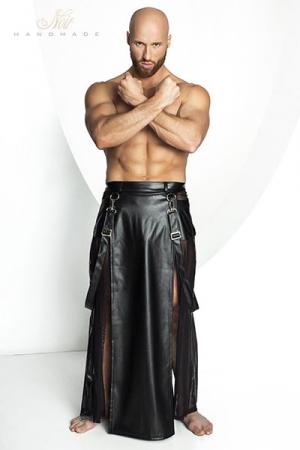 Jupe STRONGER Blade - Jupe longue pour homme style Samoura� en wetlook mat et tulle noir.