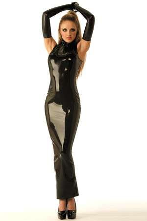 Robe Sir�ne zipp�e en latex - Robe forme Sir�ne en latex v�ritable, zipp�e dans le dos.
