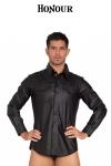 Chemise Fitted Shirt faux cuir - Chemise cintrée à poches en faux cuir mat, fabriqué par Honour : style masculin et moulant qui met en valeur votre torse et vos épaules.