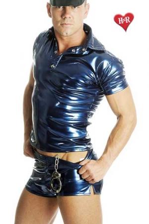 Short vinyle Metallic Blue - Un short vinyle bleu avec des reflets métalliques. Très court et échancré aux cuisses, il va provoquer des arrêts cardiaques autour de vous !