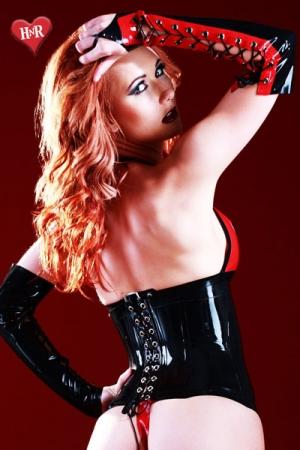 Gants Lacés en Latex pour Travesti Honour Possession - Gants lacés un doigt en latex haut de gamme, bicolores noirs et rouges pour travesti. Le laçage permet de les adapter à tous les bras.