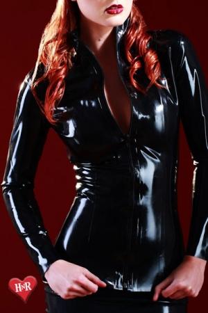 Veste Latex pour Travesti Honour Mistress - Veste en latex Skin Two très haut de gamme pour un travesti ou une maitresse amatrice de latex. Cette veste cintrée et moulante dessine votre taille tout en cachant des dessous en latex très osés !