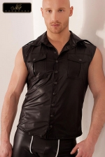 Veste sans manches Groove - Veste sans manches en wetlook, style army avec ses poches de poitrine � rabats, ses �paulettes et le pli dorsal surpiqu�.