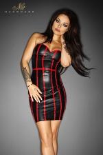 Robe en Vinyle Noir pour Travesti Noir Handmade Taboo - Aucun tabou avec cette robe noire en vinyle moulant au laçage ouvert style corset dans le dos. Elle redessine votre corps, affine votre taille et vous place au centre des regards. Ses lignes de vinyle rouge augmente encore son potentiel érotique.