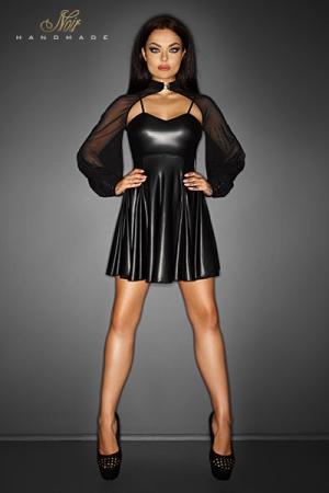 Petite Robe Noire en Wetlook Mat noir Handmade Immoral - Petite robe noire, très courte, fabriquée en wetlook mat par Noir Handmade. Elle possède un boléro en tulle fin et transparent qui cache vos bras et vos épaules. Une robe provocante mais élégante.