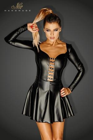 Mini Robe Manches Longues Grande Taille - Petite robe noire grande taille aux manches longues pour travesti. Jupe évasée et courte qui souligne vos fesses, bustier serré. Fabriqué en wetlook moulant et extensible.