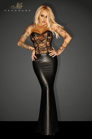 Robe Longue Travesti en Dentelle et Wetlook - Robe longue pour travesti disponible en grande taille avec un bustier au corsage de dentelle et une jupe longue en wetlook noir opaque avec une traine pour un travesti très femme et très royale.