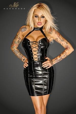 Petite Robe Vinyle Travesti - Robe courte cintrée en vinyle moulante, avec un lacet style corset à l'avant et un dos nu à l'arrière. Disponible en grande taille pour un travesti féminin et sexy