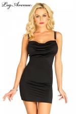 Petite Robe Noire Moulante pour Travesti Leg Avenue Chiara - Petite robe noire moulante pour travesti Leg Avenue Chiara. Cette robe courte à dos nu est drapée sur la poitrine, ses doubles bretelles se croisent dans votre dos pour un effet très féminin.