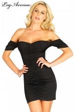 Robe Noire de Soirée Courte et Froncée pour Sissy - Robe de soirée courte et sexy au tissu froncé avec un magnifique décolleté ouvert sur les épaules nues pour une sissy charmante. Cette robe moule et féminise vos formes, son tissu extensible est confortable.