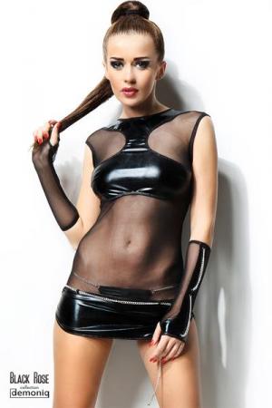 Robe Courte pour Sissy Demoniq Anette - Robe très courte pour sissy en wetlook brillant pour cacher seins et clito et voile transparent. Elle est livrée avec ses mitaines et son string assorti. Taille jusqu'à 174 cm pour sissy de taille moyenne.
