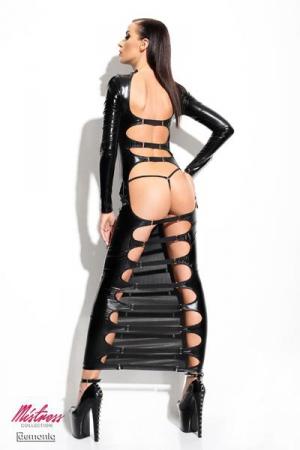 Robe Longue Dos et Chatte Anale Nu Travestie - Cette robe longue est totalement opaque, moulante et couvrante à l'avant. A l'arrière elle est ouverte sur votre dos, votre chatte anale et vos jambes. Transformez vous en travestie féminine et excitante, offerte aux mâles.