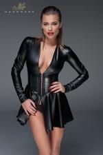 Mini Robe Corset Wetlook pour Travesti - Avec son tissu moulant, ses manches longues et sa ceinture corset, cette mini robe corset wetlook pour travesti sculpte une silhouette féminine et attirante à la sissy que vous êtes et met en valeur votre poitrine.