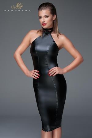 Robe Sissy Moulante en Wetlook Noir Handmade  - Cette robe moulante pour sissy Noir Handmade Muse F160 est disponible jusqu'au XXXL. Elle cache votre pomme d'Adam et est très provocante avec son zip asymétrique sur la cuisse, son dos nu et son collier laisse.