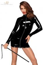 Petite Robe Moulante en Vinyle à Manches Longues pour Sissy Noir Handmade - Mini robe noire moulante pour sissy fabriquée en vinyle. Ses manches longues cachent vos épaules, les muscles de vos bras. Le vinyle brillant moule vos formes et vous féminise. Double zip à l'avant.