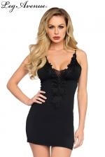 Petite Robe Noire Fines Bretelles pour Sissy Leg Avenue Dolce : Superbe petite robe noire pour travestie avec des dentelles, des broderies sur le décolleté. De fines bretelles la relie à votre dos nu. Cette robe moulante dessine de superbes formes féminines pour une sissy séduisante.