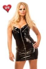 Robe Courte en Vinyle Zippé pour Sissy - Robe courte en vinyle zippé noir pour sissy disponible jusqu'au 52 : grand zip pour enlever la robe en un éclair. Vinyle moulant pour mettre en avant votre féminité et faire votre salope.