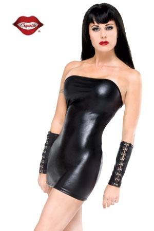 Mini Robe Tube pour Travesti en Lycra Coquette Darque - Mini robe tube en lycra effet mouillé mat pour travesti : cette micro robe noire moulante cache le minimum et moule votre corps.
