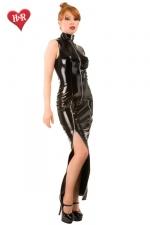 Robe Longue Moulante en Vinyle avec Zips - Robe fourreau en vinyle disponible jusqu'à la taille 50. Ultra moulante, elle possède des zips pour montrer la peau de vos jambes et votre décolleté. Pour un superbe travesti, très féminin et attirant.