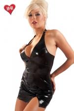Mini Robe Fendue Au Dos Fendu en Vinyle - Disponible jusqu'au 46, cette petite robe fendue en vinyle laisse votre dos nu pour un résultat très féminin et sensuel. En outre elle possède une petite fente coquine qui dévoile le haut de vos cuisses.