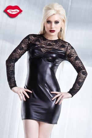 Robe en Dentelle et Lycra pour Travesti - Robe sexy aux manches longues en dentelle et corps en lycra wet look. Pour une femme séduisante, absolument divine et gainée de noir. Disponible du S au XL.
