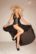 Robe Longue Fendue en Tulle Noir Handmade Icone - Une robe longue fendue fabriquée en tulle transparente avec un serre taille en vinyle mat type corset pour apporter du contraste.