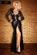Robe Longue pour Sissy Lady : En wetlook et dentelle noir, cette robe longue pour sissy est superbe et très sophistiquée ! Le haut est en dentelle, avec des bandes de wetlook sur les poignets et le décolleté. Large ouverture sur l'entrecuisse. Lady Noir Handmade
