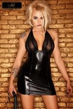 Robe Noire Courte au Bustier Transparent Jerry : Bustier en tulle transparent, corps en wetlook noir serré et cintré, dos nu pour attirer l'oeil, cette robe courte noire, sexy et excitante va provoquer bien des hommes.