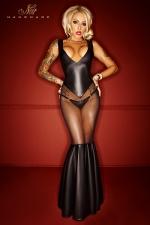 Robe Longue Noir Handmade Bad Girl - Robe longue transparente spécial grande taille. Très féminine et sexy, cette robe révèle vos meilleurs atouts et ceint votre corps dans une enveloppante provocante pour une transformation réussie.