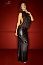Robe Noir Handmade Bad Nymphea - Robe longue disponible jusqu'au 46. Elle est fabriquée en wetlook mat et mousseline transparente. Son dos nu indécent est plongeant et dévoile la naissance de vos fesses. Pour un travesti très féminin et diaboliquement attirant.
