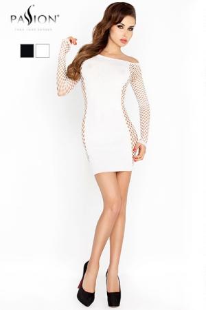 Robe Fourreau Extensible et Moulante - Mettez votre féminité et vos formes en valeur avec cette robe fourreau moulante aux découpes en résille provocantes. Une petite robe travesti parfaite, disponible en noir ou en blanc.