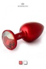 Moyen Rosebuds en Aluminium Rouge - Rosebuds Classic en version aluminium anodisé rouge plus légère que le modèle original en acier, ce bijou anal pour sissy de luxe vous est proposé avec un cristal Swarovski couleur rouge ou golden. Il détend votre chatte anale.