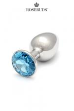 Rosebuds Cristal Medium Aquamarine - Rosebuds en acier inoxydable 7,5 x 3 cm décoré d'un bijou en cristal Swarovski coloris Aqumarine taille classique. Ce plug anal pèse 176 grammes pour stimuler la prostate et l'anus. Portez le des heures.