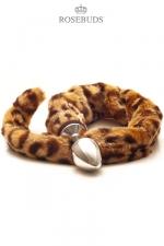 Rosebuds Queue de Leopard - Un rosebuds pour sissy de 6,1 cm de long par 3 cm de diamètre avec une queue de léopard en fourrure synthétique : avec ce plug anal en métal, laissez sortir le félin qui vous habite.