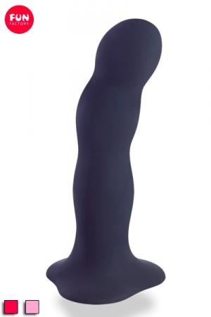 Godemiché Ventouse 18 cm avec Balles Rotatives Fun Factory Bouncer - Ce gros gode homme 18 cm en silicone renferme 3 balles rotatives qui bougent à chaque mouvement et font vibrer ce godemichet pour vous donner plus de jouissance. Sa base ventouse permet de le fixer. La forme courbée du Fun Factory Bouncer stimule la prostate.