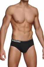 Slip Noir Classique Macho MC088 : Le Macho MC088 est un slip noir classique, très confortable et qui soutient bien. Large sur le haut des cuisses, ce slip gay sexy est fabriqué en coton, polyester et élasthanne extensible pour s'adapter à toutes les morphologies.