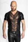 Tee-shirt STRONGER V Cage - T-shirt V en wetlook mat ouvert sur les pectoraux et le ventre d'une large bande de tulle transparent décoré de chevrons.
