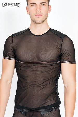 T-shirt Homme Transparent Hunter LookMe - Fabriqué en résille moulante et confortable, ce t-shirt homme transparent Hunter LookMe met votre corps en valeur. Abdominaux, pectoraux, épaules sont magnifiés, rien n'est caché à la vue. Très excitant et sexy !