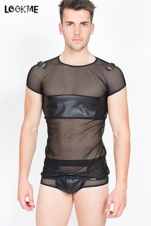 T-Shirt Résille Transparente LookMe Thunder - Tee shirt transparent en résille et faux cuir pour mettre votre corps en valeur et attirer les mecs ! Large bande de faux cuir sur le torse pour cacher les tétons, sangles sur les épaules.