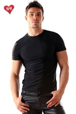 Tee Shirt Lycra Noir - Un t-shirt en lycra moulant de couleur noir. Idéal pour sculpter un beau torse musclé et vous mettre en avant sans rien montrer. Tout est dans la suggestion !