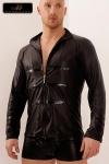 Chemise zipp�e Lord - Chemise en wetlook mat d�cor�e de bandes vinyles sur le torse et le bas des manches, le style personnifi� !