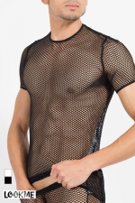 Tee Shirt en Résille Transparente LookMe Hook - Une résille large et transparente pour ce superbe tee shirt très sexy et moulant. Exhibez votre corps et profitez de vos atouts pour séduire les mecs !