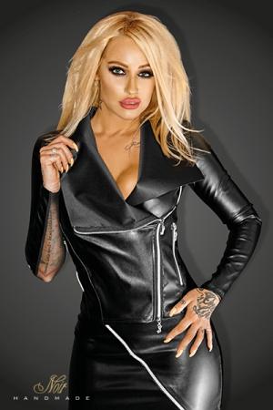 Perfecto pour Travesti en Faux Cuir - Blouson sexy style perfecto en faux cuir mat et tulle, zips argentés et ornement NOIR en lettres métal dans le bas du dos. Disponible en grande taille jusqu'au 46 ou 3XL