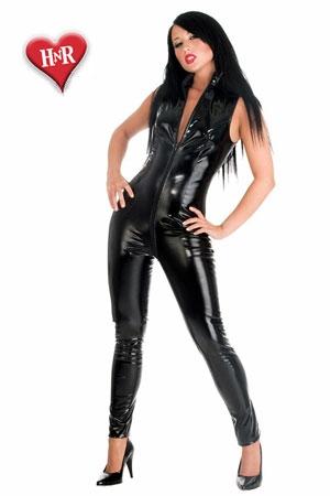 Combinaison sans Manches en Vinyle à Double Zip Intégral Honour Sleeveless - Combinaison à double zip intégral sans manches, en vinyle pour travesti et femme coquine. Son double zip donne accès à votre sexe et vous permet de la garder pendant l'action.