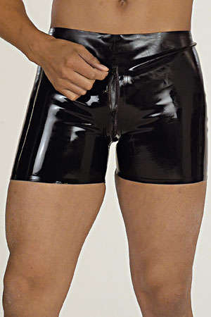 Short zipp� en latex - Short en latex de haute qualité équipé d'un double zip depuis la ceinture jusqu'en haut des fesses.